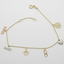 BRACELET YELLOW GOLD WHITE AND PINK 18K 750 PENDANTS FAMILY MADE IN ITALY - $219.92