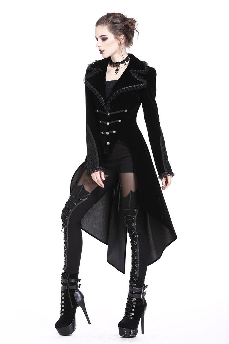 Black Velvet Victorian Tailcoat Lace Trim Military Goth Jacket Spring Fall Coat