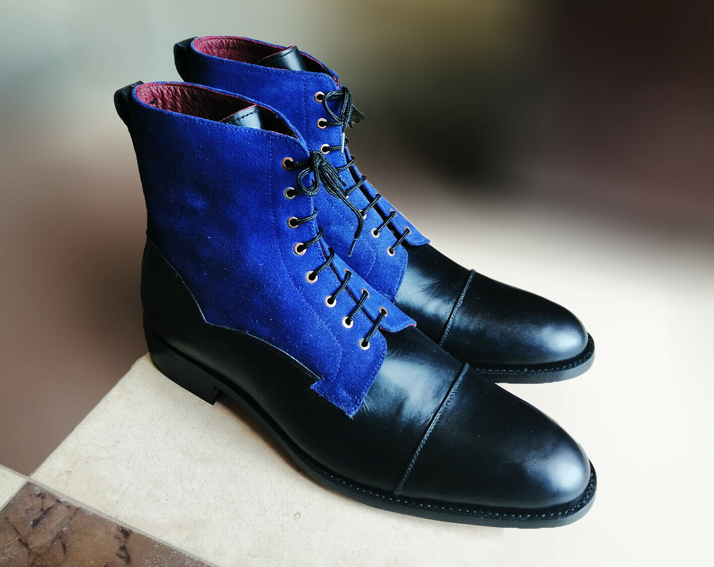 Genuine Premium Black Blue Two Tone Leather High Ankle Men Lace Up Cap Toe Boots
