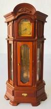 "Miniature Wood Grandfather Clock 1:12 Working w/ Reutter Porzellan Figurines 7"" - $191.57"