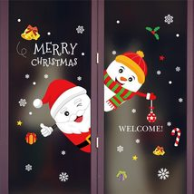 Cartoon Christmas Stickers For Window Showcase Santa Clause Snowman Home... - $4.16