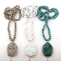 Fashion Bohemian Jewelry Stone Knotted Stone Matching Stone Drop Necklaces For W - $18.95