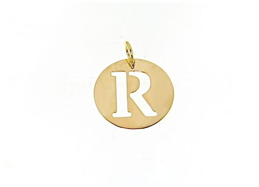 18K YELLOW GOLD LUSTER ROUND MEDAL WITH LETTER R MADE IN ITALY DIAMETER 0.5 IN