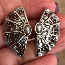 Vintage Silvertone Filigree Hand Fan Clip On Earrings - $8.81