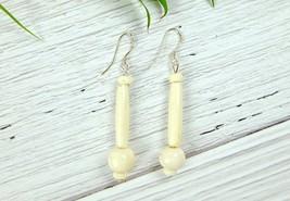 White African Bone Dangle Earrings, Sterling Silver - $8.59