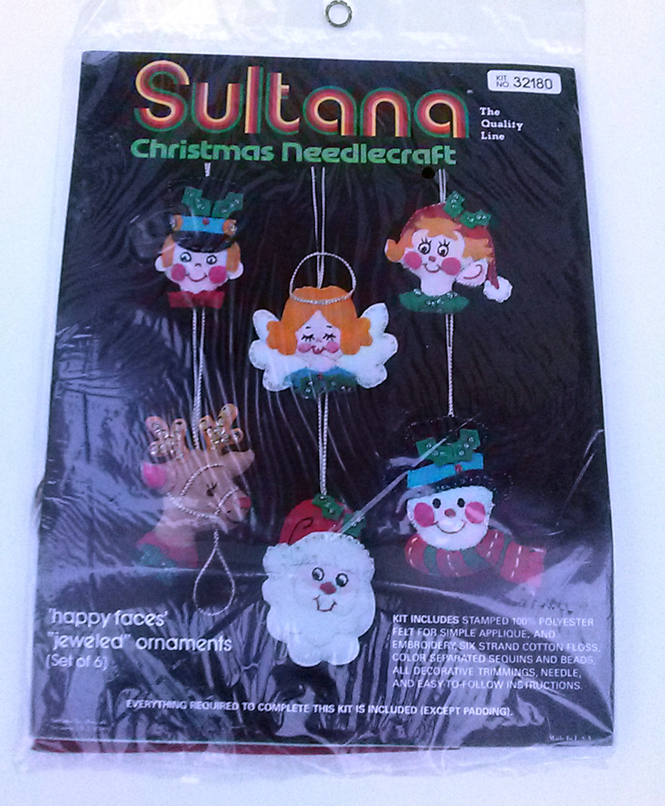 Primary image for Sultana Christmas Ornaments Kit No. 32180 Needlecraft Kit Happy Faces Jeweled
