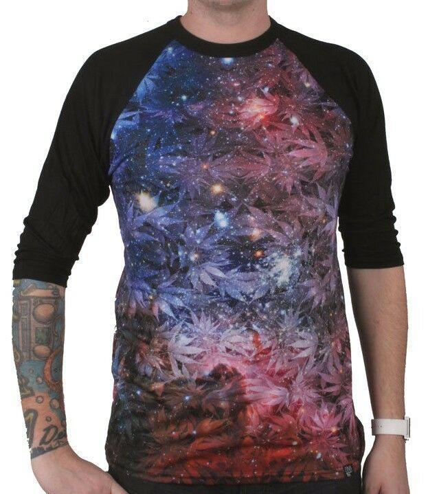 DNA Hierba Marihuana Planta Espacio Galaxy Sublimación 3/4 Manga Raglán Camisa
