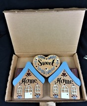 VINTAGE HOME INTERIOR HOME SWEET HOME WOODEN HOUSES AND HEART W/ORIGINAL... - $18.99