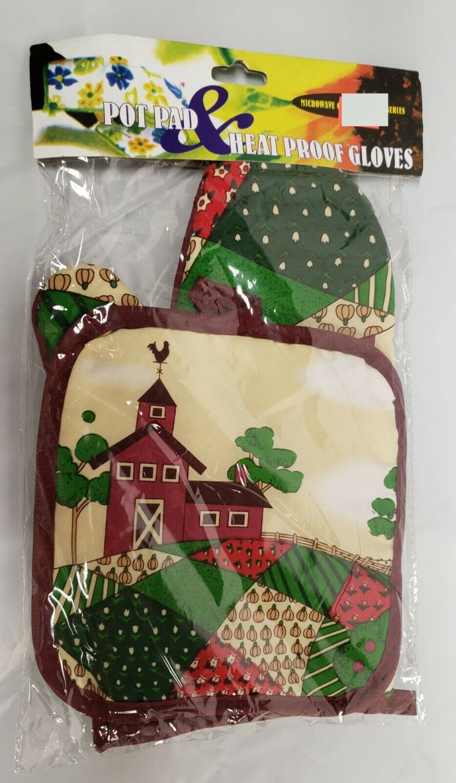 2 pc Printed Kitchen Set: 1 Pot Holder & 1 Oven Mitt, FARM HOUSE, brown, Mirtex
