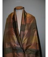 2.5y ITALY SILK TAFFETA COGNAC GLD MULTI PLAID DESIGNER FABRIC DRESS/HOM... - $70.00