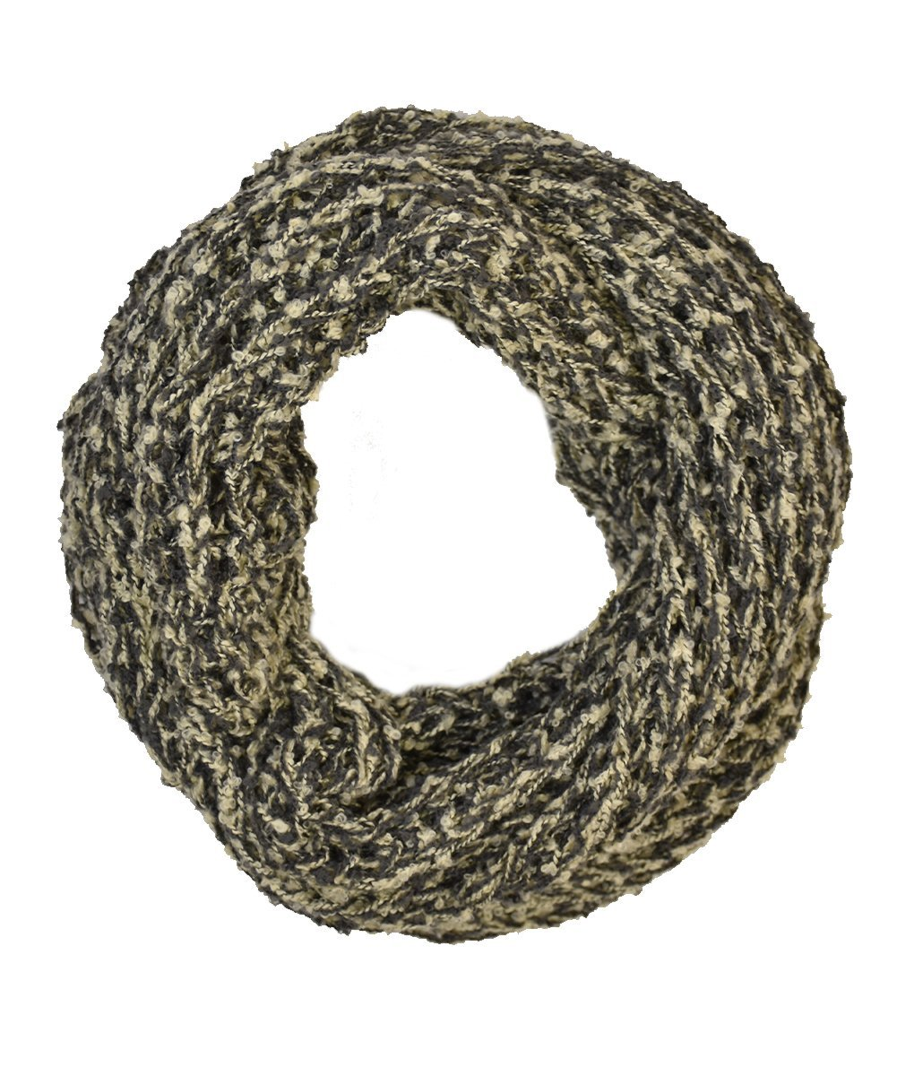 Le Nom Wavy Ribbed Crochet Knitted Infinity Scarf (Grey)