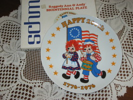 Raggedy Ann & Andy-Bicentennial Plate -Limited Edition-Schmid Brothers-USA-1975 - $5.00