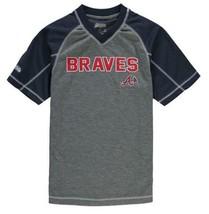 Mens Stitches Navy Blue & Gray Atlanta Braves MLB Performance Raglan Tee... - $22.99