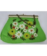 Womens Clasp Purse Boho 70s Green Embroidered Flowers Chain Strap Evenin... - $23.92