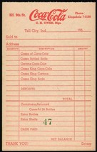Vintage receipt COCA COLA Tell City Indiana 1950s C H Owen new old stock... - $6.29