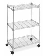 3 Tier Wire Metal Rolling Utility Cart Shelf Storage Kitchen Trolley Por... - $49.49