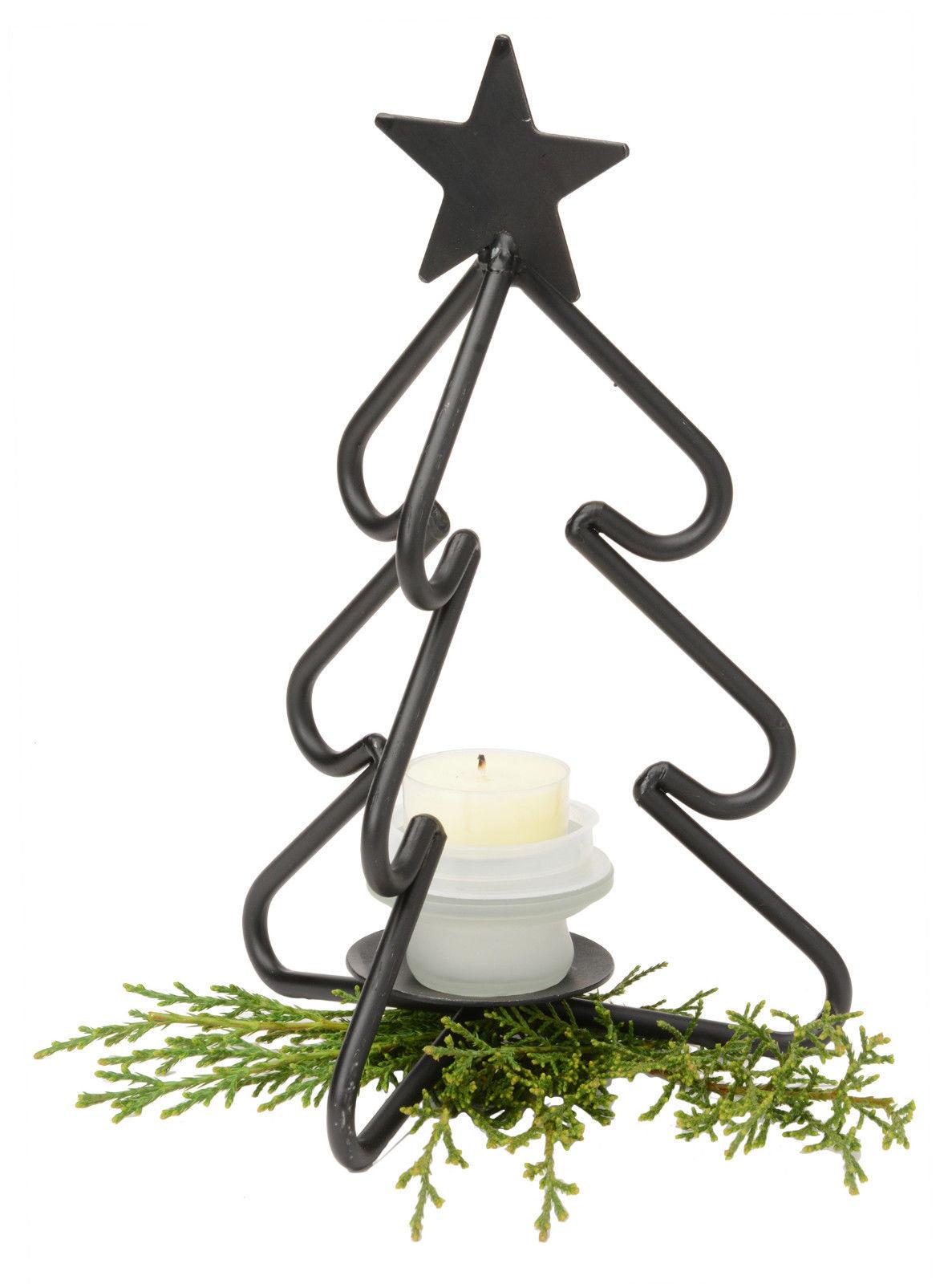 3-D CHRISTMAS TREE Wrought Iron Tea Candle Light Stand Holiday Decor Holder USA - $34.62
