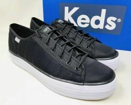 Keds WF58056 Women's Triple Kick Striped Mesh Black shoe, 9 Med - $29.65
