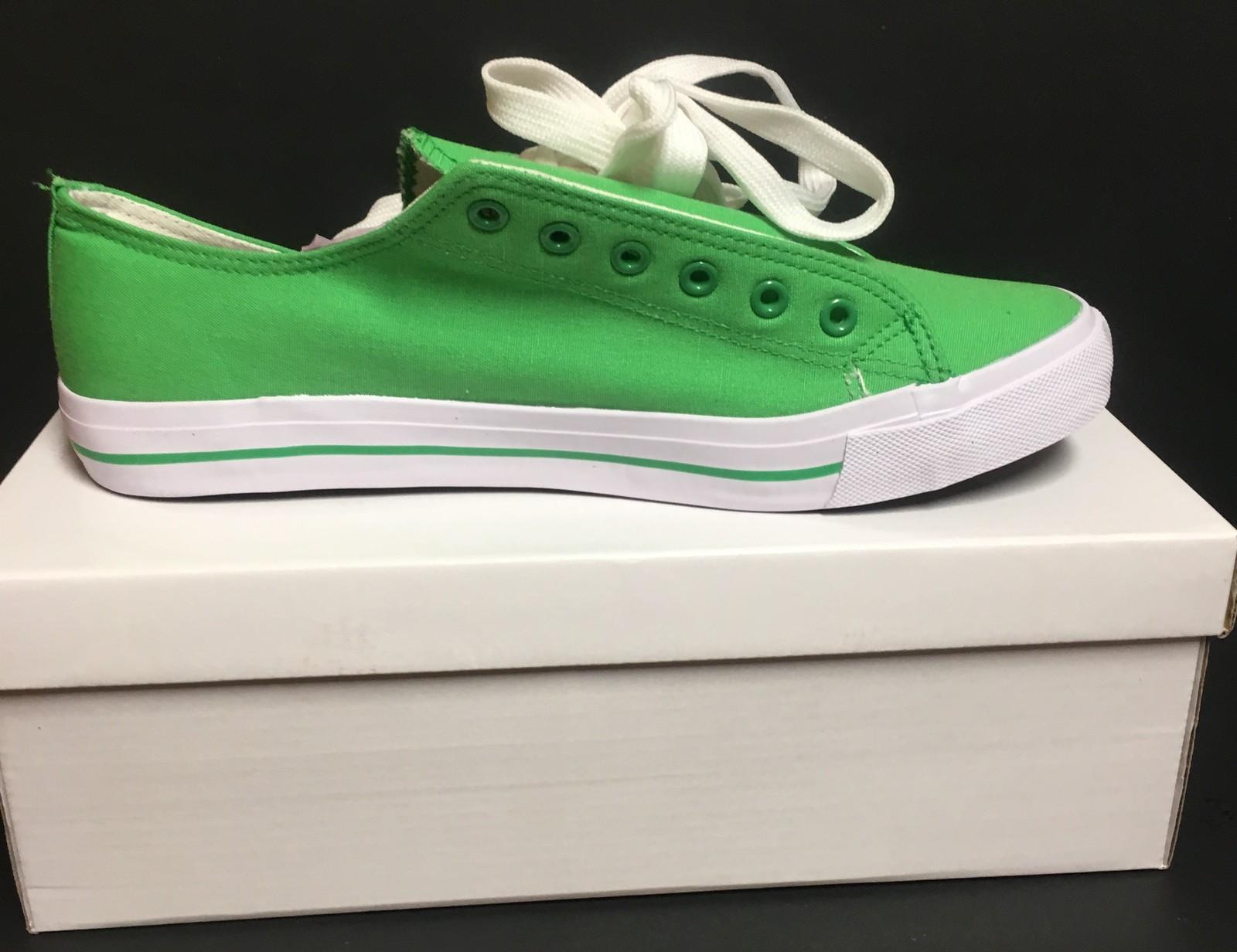 Custom School Kicks Canvas Tennis Shoes Unisex 10/11.5 Lime Green NIB image 2