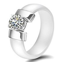 Trendy Ceramic Stainless Steel Prong 1ct Cubic Zirconia Solitaire  Wedding Ring