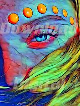 Digital download model beauty make up blue eyes  Wallpaper Painting Wate... - $5.00