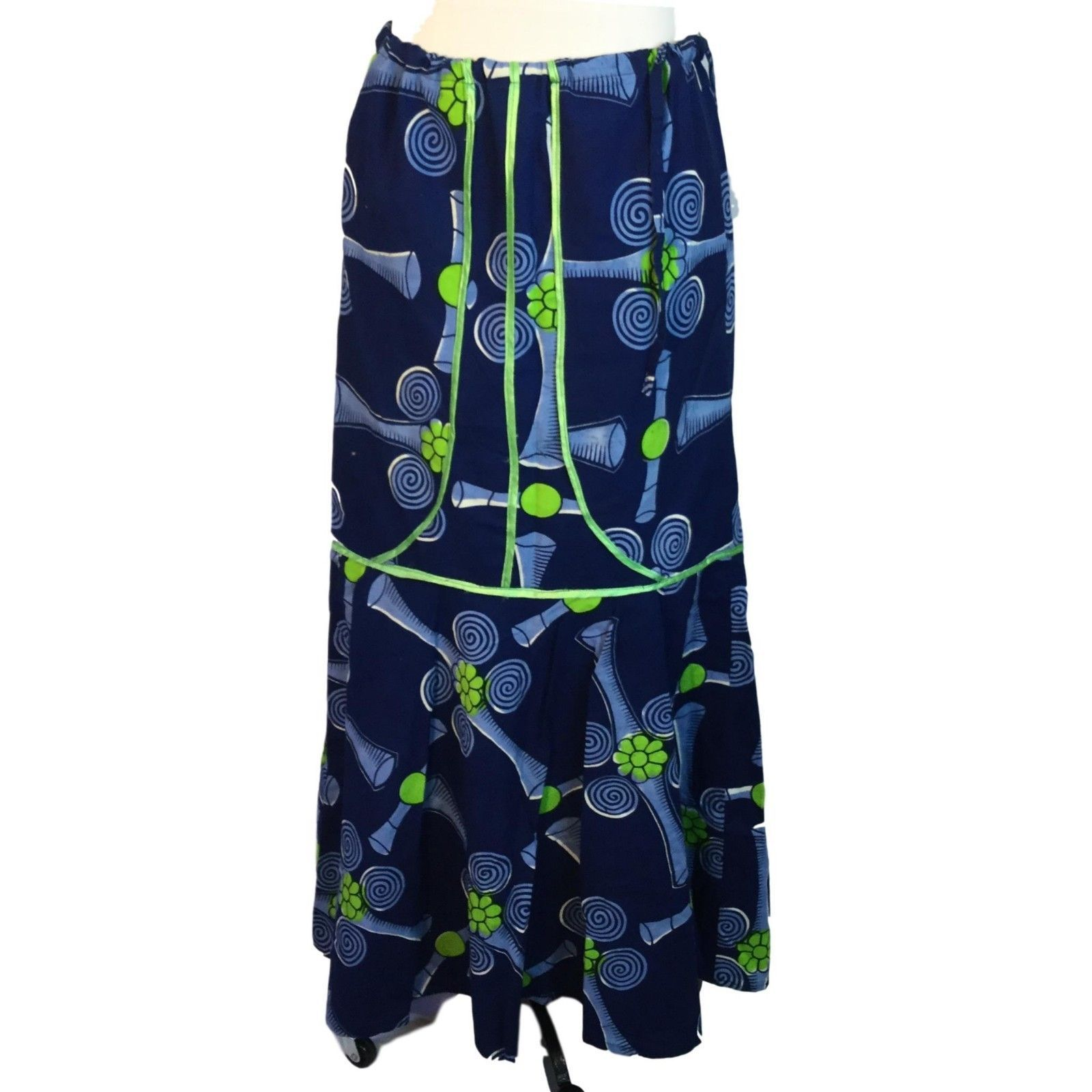 Traditional African Mermaid Drawstring Waist Skirt Top Boho Vibrant Print M / L
