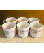 Set of 6 Corelle Coordinates Stoneware Coffee Cups Cream Color Fruit Motif - $29.86