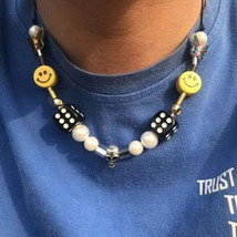 Punk Rock Pearl Smiley Skull Rope Adjustable Choker Lucky Dice Beaded Necklaces  - $24.93