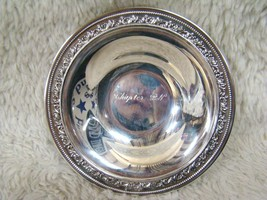 Wallace Silverplated Intricately Designed Bowl, Chapter B N Engraved Ins... - $21.77