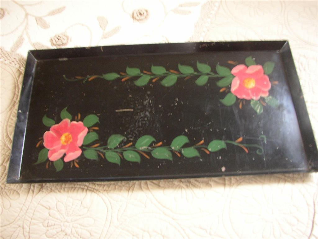 Vtg Toleware Hand Painted Metal Serving Tray And 50 Similar Items
