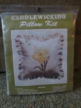 "1983 Wang's International DAFFODIL CANDLEWICKING Pillow SEALED Kit - 14""... - $11.88"