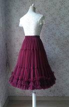 Burgundy Ballerina Tulle Skirt A-Line Layered Puffy Ballet Tulle Tutu Skirt image 7