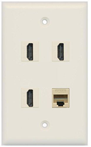 RiteAV - 3 Port HDMI 1 Port Cat6 Ethernet Wall Plate - Light Almond