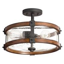 Kichler 38171 Distressed Semi Flush Mount Light, 3, Black Metal and Wood - $104.54