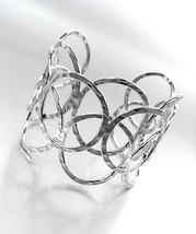 ARTISANAL Urban Anthropologie Silver Hammered Texture Rings Wide Cuff Bracelet - $17.99