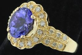 Custom KHR 14K Yellow Gold Tanzanite and Diamond Ring (Size 6) - $735.00