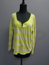 SPLENDID Lime Green And Tan Striped Long Sleeved V Neck Slit Top Size M ... - $29.69