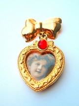Vtg Gold tone dangler Bow Heart Pin Brooch Photo Picture Holder Mother gift - $14.85
