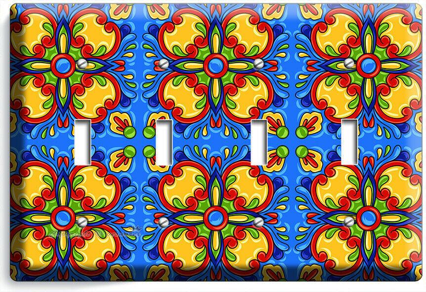 BLUE MEXICAN TALAVERA TILE LOOK 4 GANG LIGHT SWITCH PLATE KITCHEN FOLK ART DECOR
