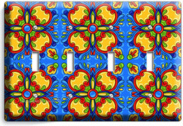 BLUE MEXICAN TALAVERA TILE LOOK 4 GANG LIGHT SWITCH PLATE KITCHEN FOLK A... - $19.99