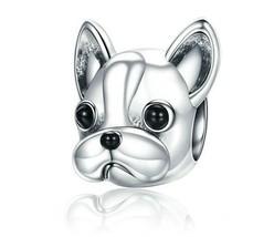 French Bulldog Beads 925 Sterling Silver Bracelet Dog Charm Pendant Gift... - $11.75