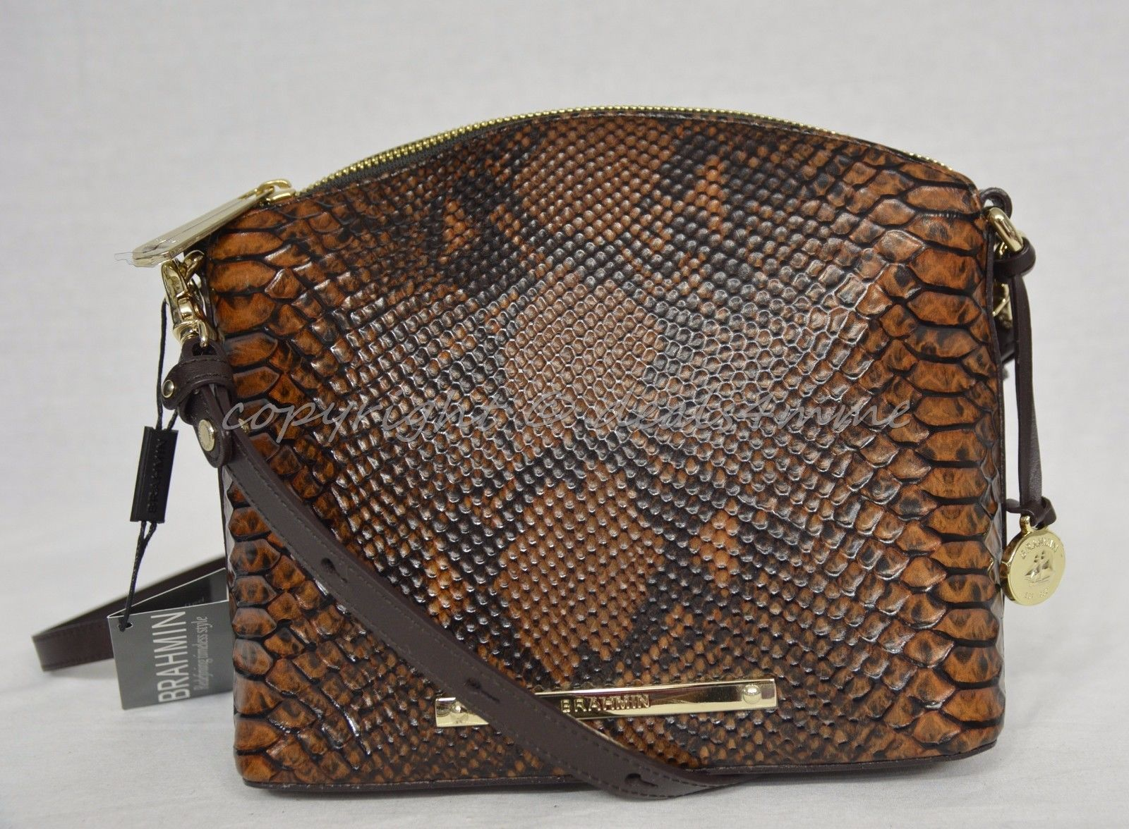 NWT Brahmin Mini Duxbury Shoulder Bag in Tortoise Seville Brown Embossed Leather