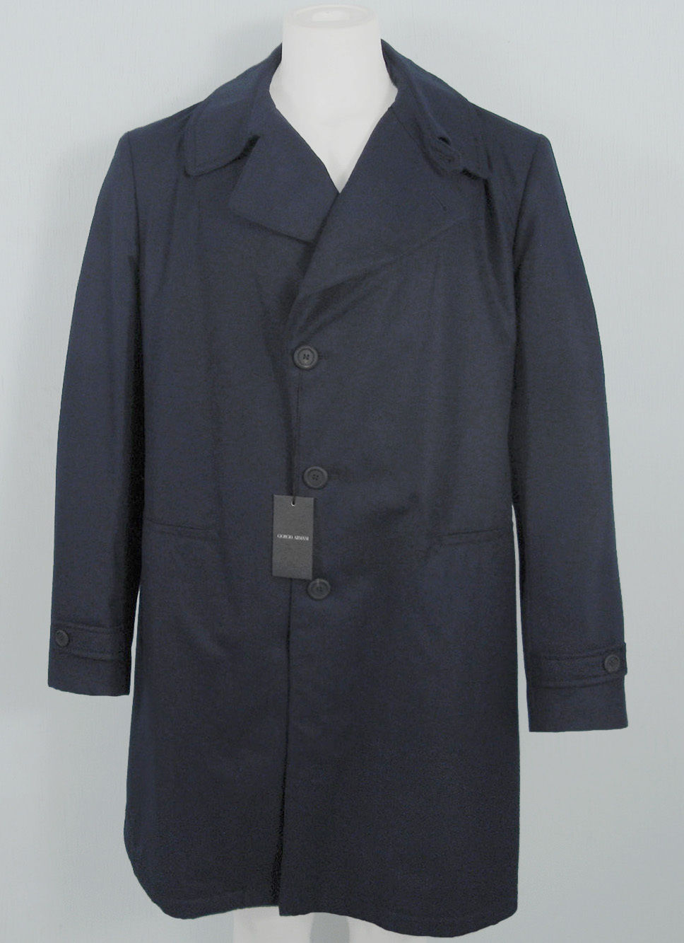 NEW! $3995 Giorgio Armani Pure Cashmere Overcoat! 44 e 54  *Dark Navy*