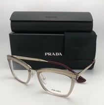 New PRADA Eyeglasses VPR 15U KNG-1O1 50-19 140 Gold Brown & Burgundy Frames