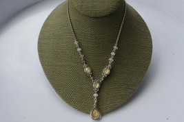 """Silver tone and yellow necklace. Marked """"avon"""". 15 inches in length. Mai... - $29.00"""