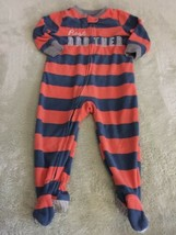 Carters Boys Orange Blue Striped BEST BROTHER Fleece Long Pajamas 18 Mon... - $5.95