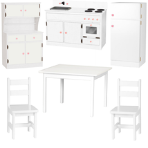 6pc WOOD KITCHEN PLAY SET Preschool Toy Furniture MADE IN USA, WHITE - $1,374.91
