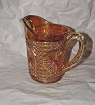 "Imperial Glass Star Medallion Jug, Marigold Carnival Glass Pitcher 5 3/4"" - $24.74"