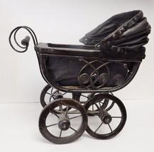 Vintage Doll Carriage Stroller Pram Baby Buggy Wicker Metal Canvas Wood ... - $89.95