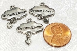 DREAM LOVER CLOUD WITH DANGLE HEART FINE PEWTER PENDANT CHARM - 19x21x2mm image 2